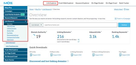 best seo tool for backlinks analysis- moz